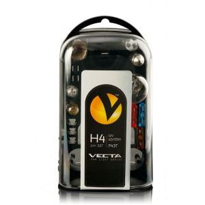 H4 varukomplekt, sisaldab H4,5W,21W,21/5W,T5 1,2W,ba9s 4W,T10 5W,5W 10x36mm,kahvelkaitse 7,5A,15A,20A Vecta