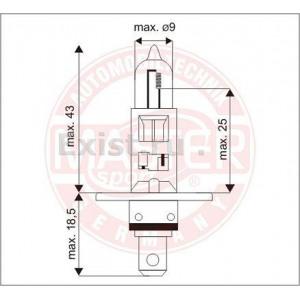 Лампа накаливания H1 12В 55Вт +30% MASTER-SPORT