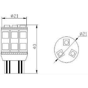 pirn LED W21/5W 12V/13x5050/W3x16q/T20