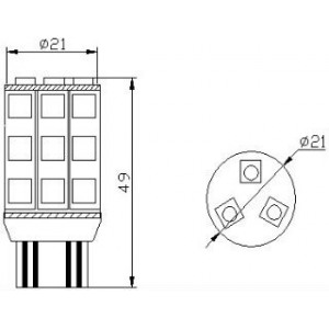 pirn LED W21/5W 12V/18x5050/W3x16q/T20