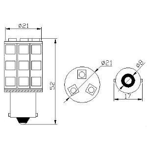 pirn LED P21W 24V/18x5050/BA15S