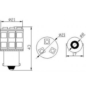 pirn LED PY21W 12V/13x5050/BAU15S/Amber