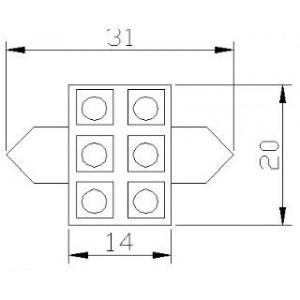 pirn LED C5W/10W 12V/6x5050/T11x31/SV8,5