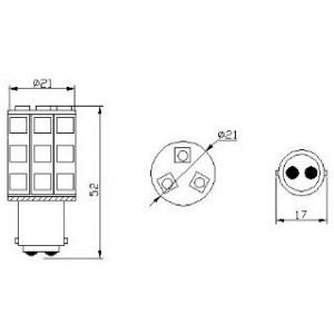 pirn LED P21/5W 24V/18x5050/BA15S